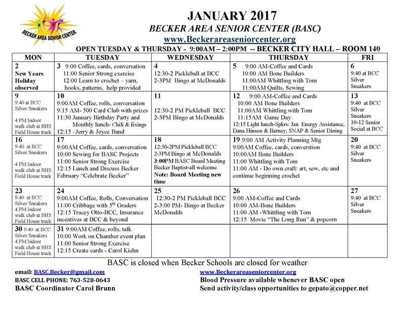 Event Calendar Becker Area Senior Center